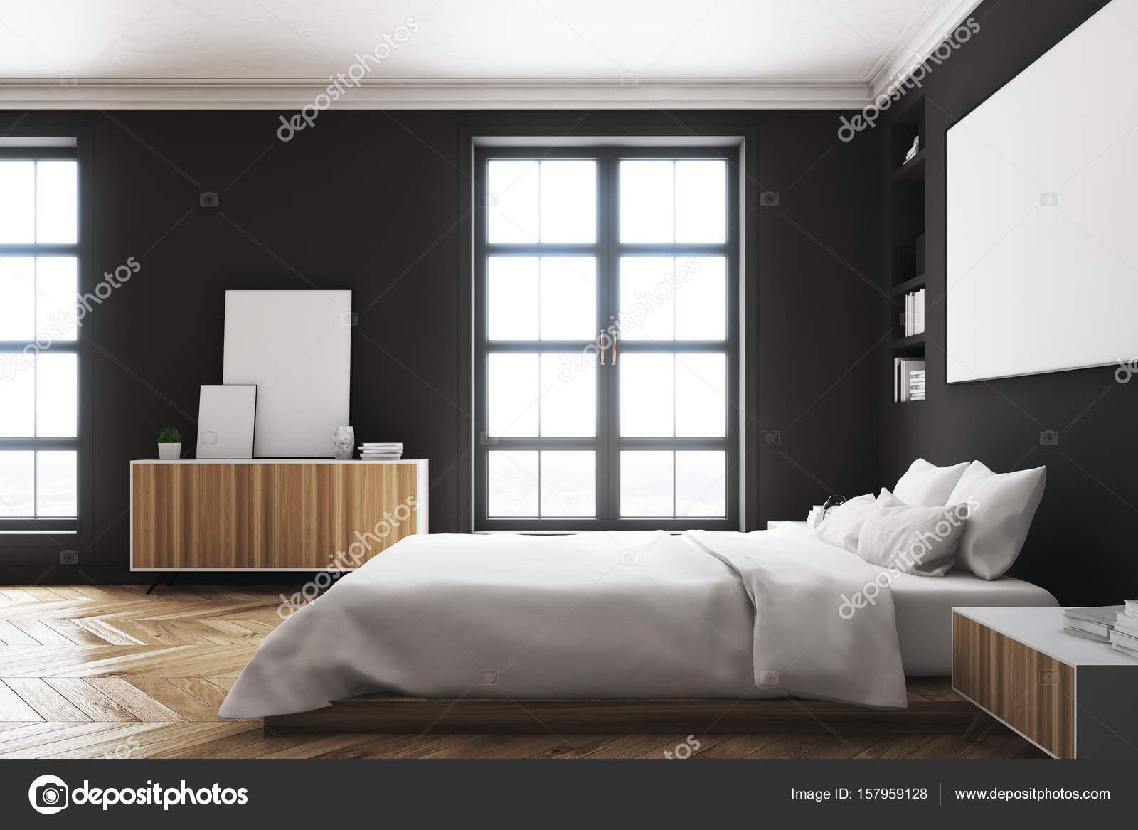 Slaapkamer interieur, poster, kant zwart — Stockfoto ...