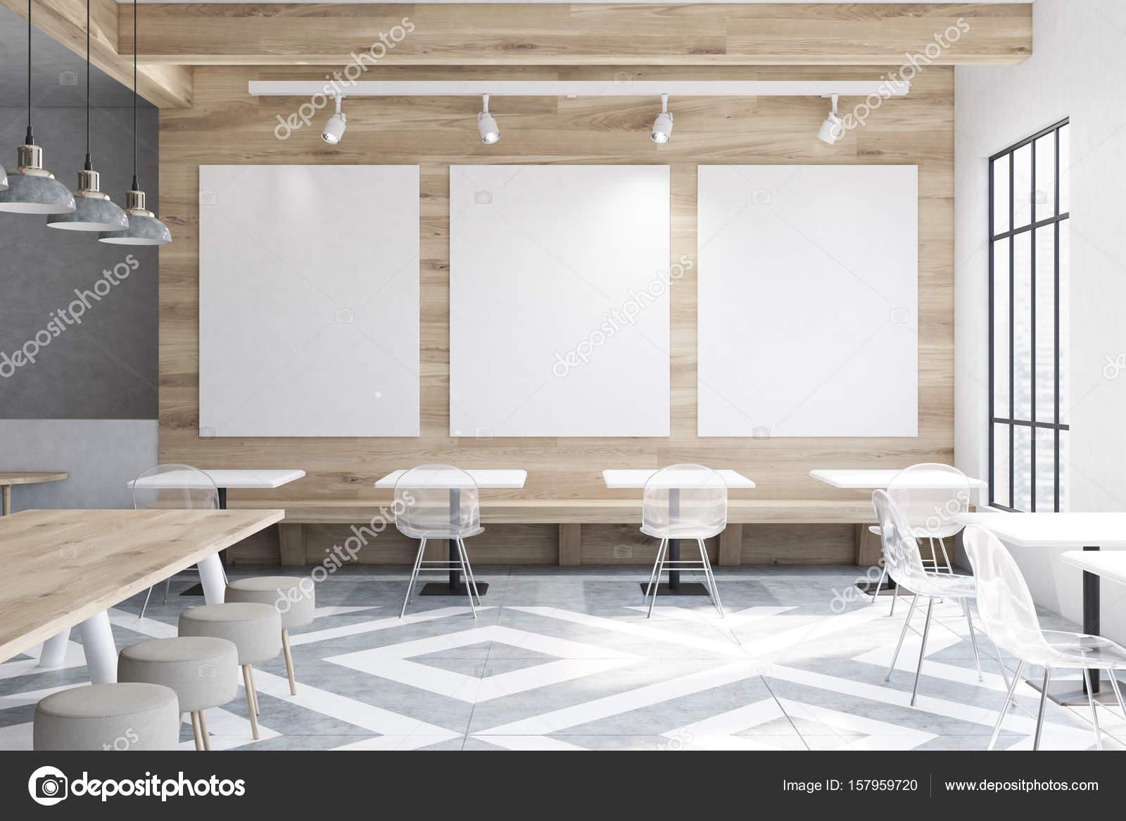 Cafe mit Tische, Runde Stühle, Poster — Stockfoto © denisismagilov ...