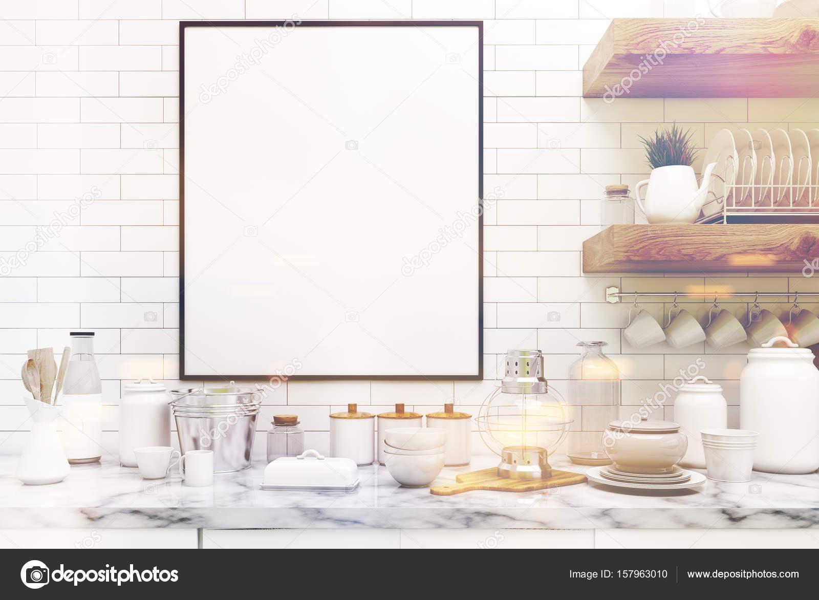 Scaffali In Muratura.Cucina In Muratura Con Poster Scaffali Nelle Vicinanze Fino