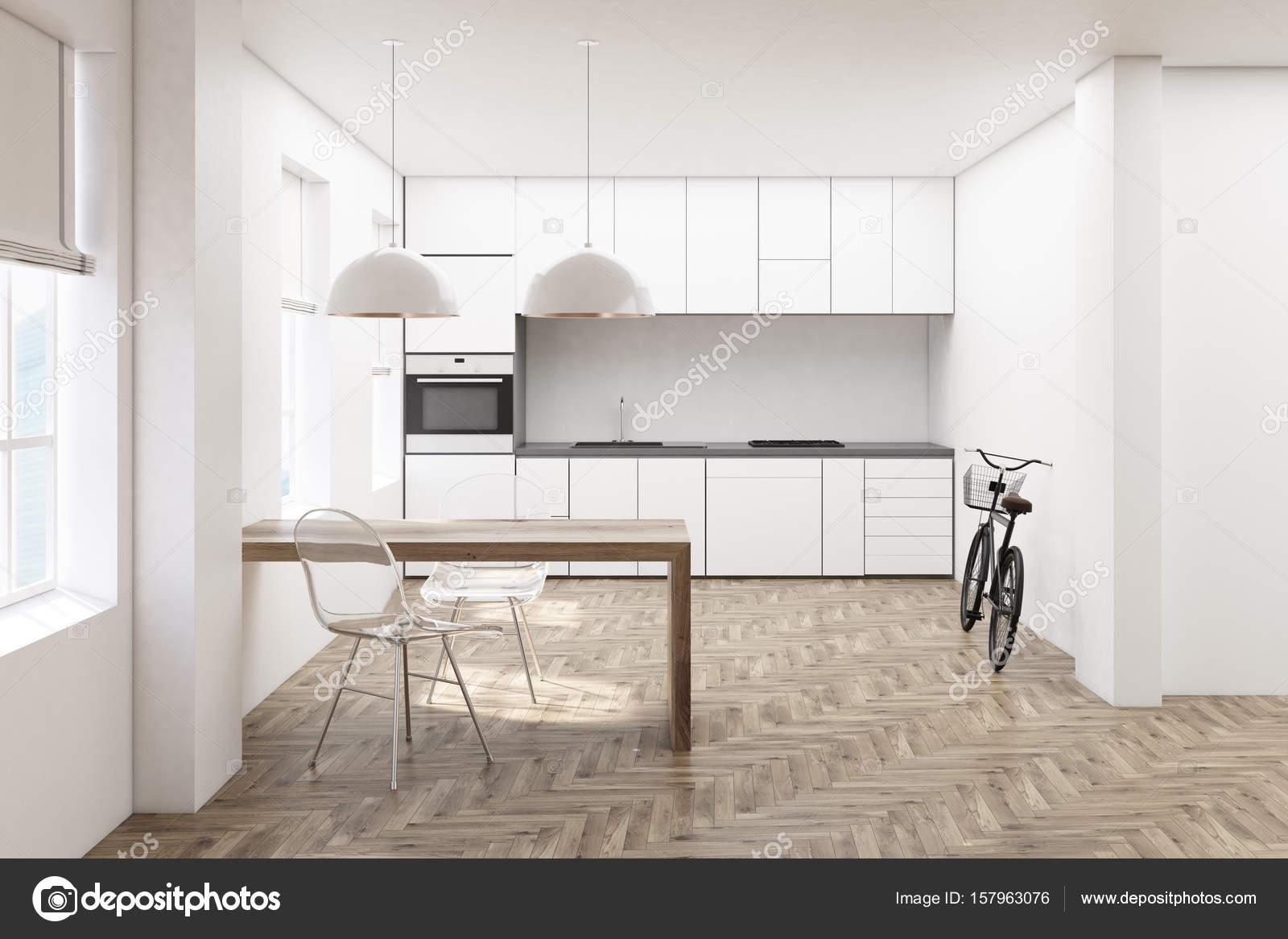 Witte keuken voorzijde van de houten vloer u2014 stockfoto
