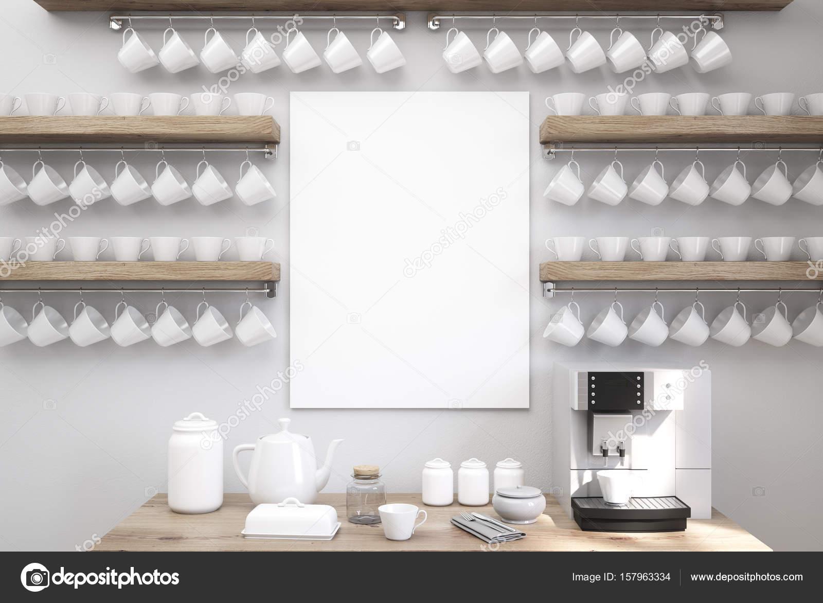 Koffiemachine De Keuken : Grijze keuken met een koffiemachine kopjes u2014 stockfoto