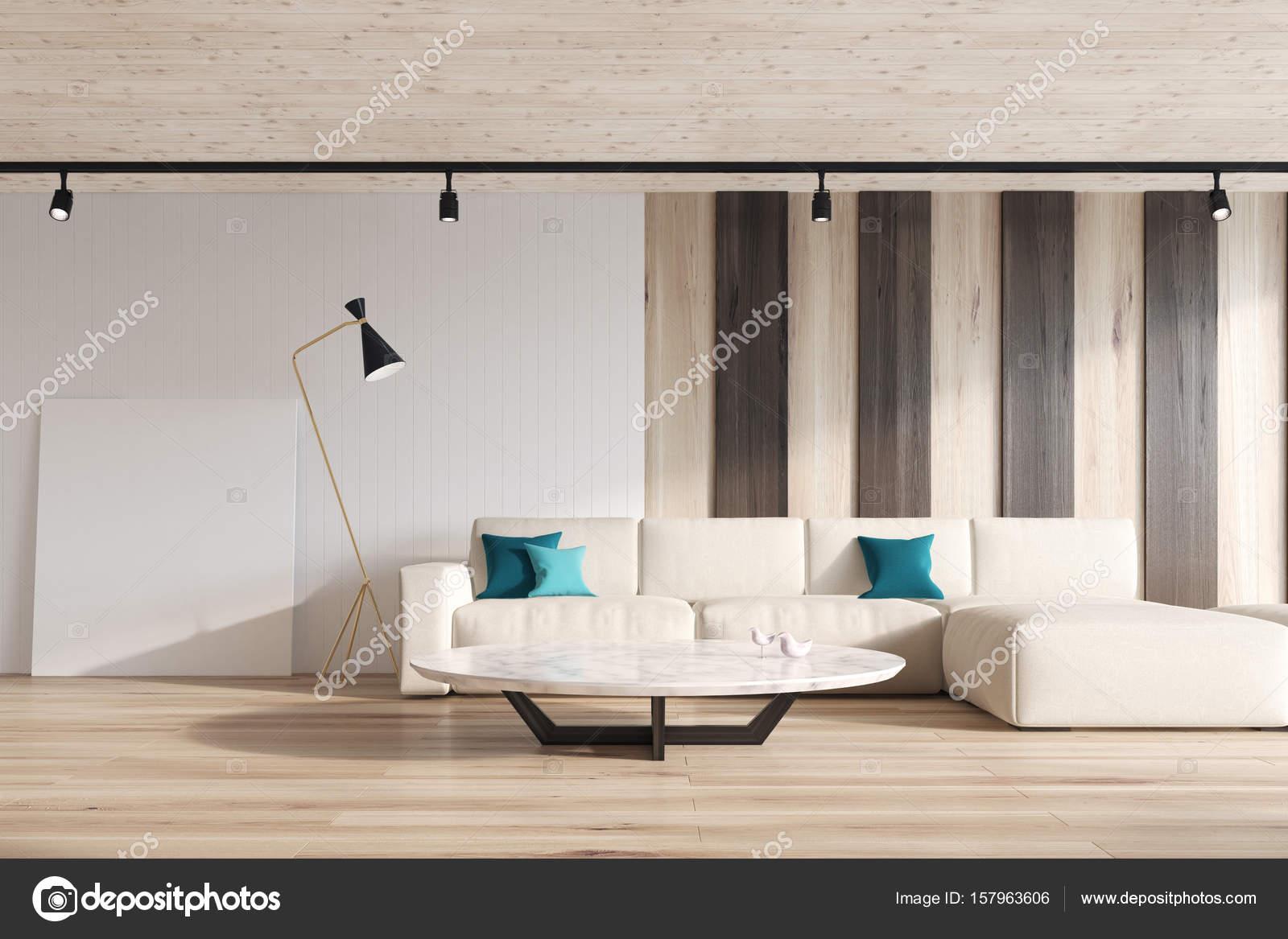 Soggiorno bianco e righe divano u foto stock denisismagilov