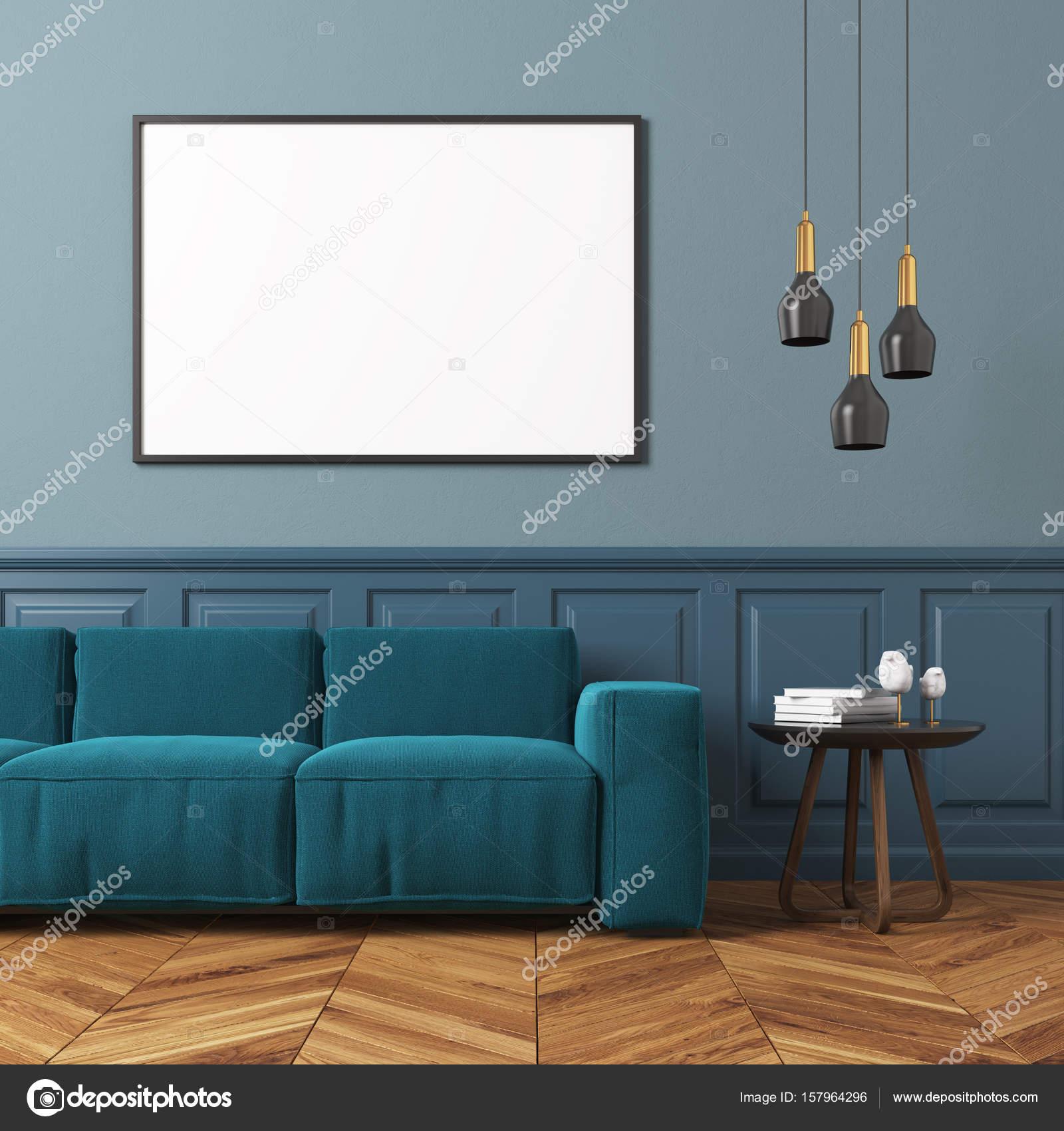 Gray living room blue sofa — Stock © denisismagilov