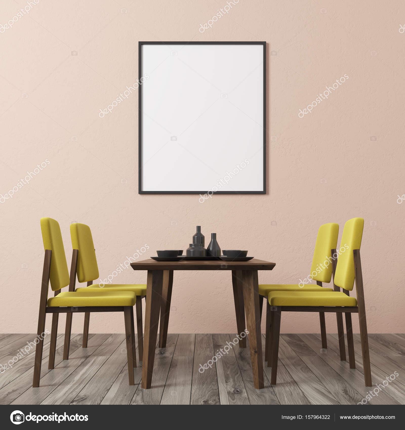 Mesa comedor amarilla | Sillas de comedor, amarillo de pared beige ...
