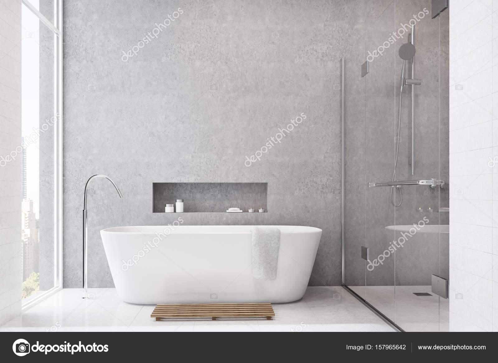 Grigio bagno piastrelle bianche doccia u foto stock