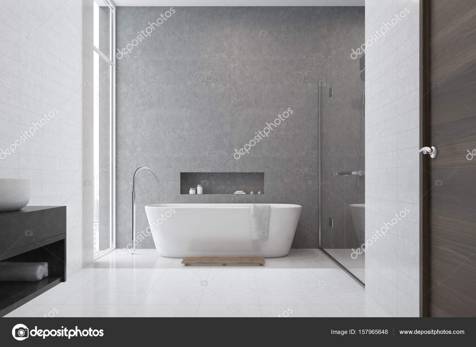 Grijze badkamer witte tegels witte wastafel u stockfoto