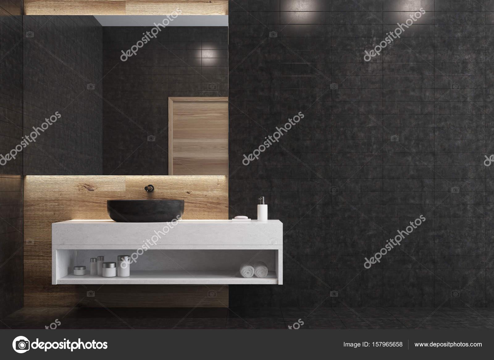Zwarte badkamer wit plat zwarte wastafel u2014 stockfoto