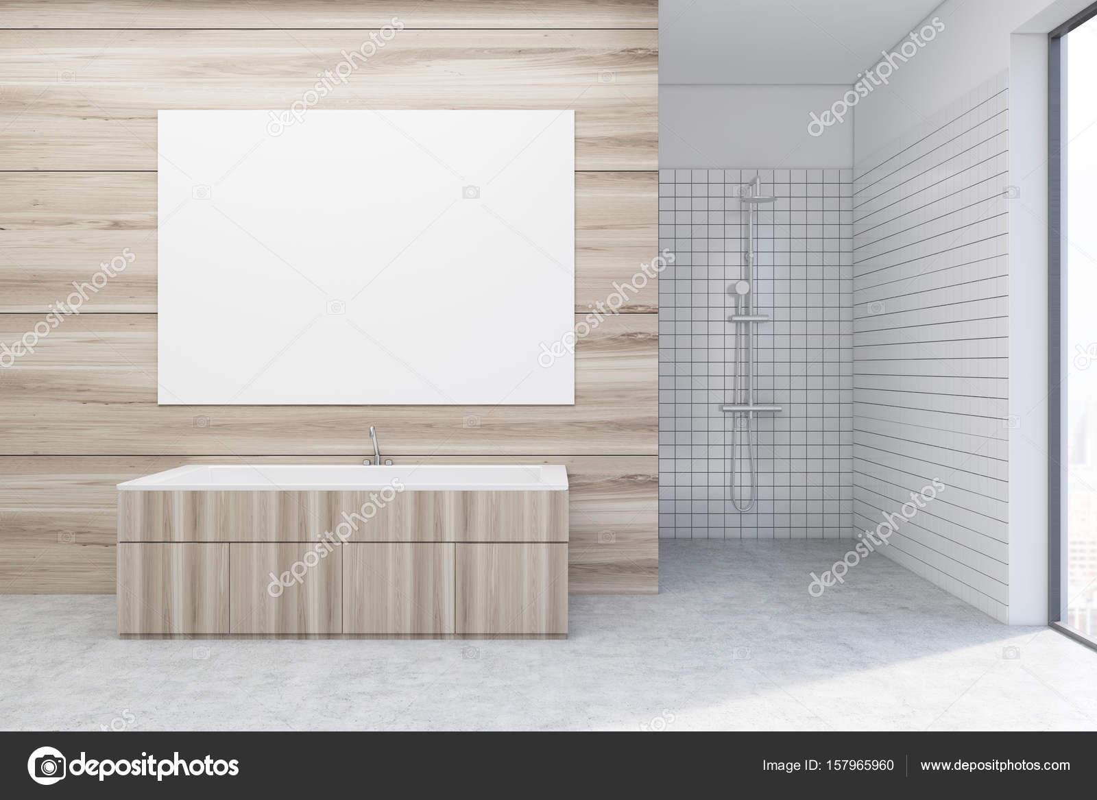 Bagno in legno doccia poster u foto stock denisismagilov