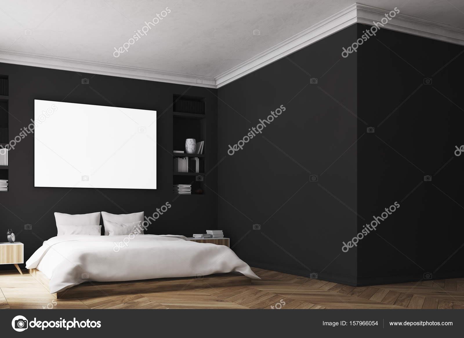 Zwarte slaapkamer interieur, poster, muur — Stockfoto ...