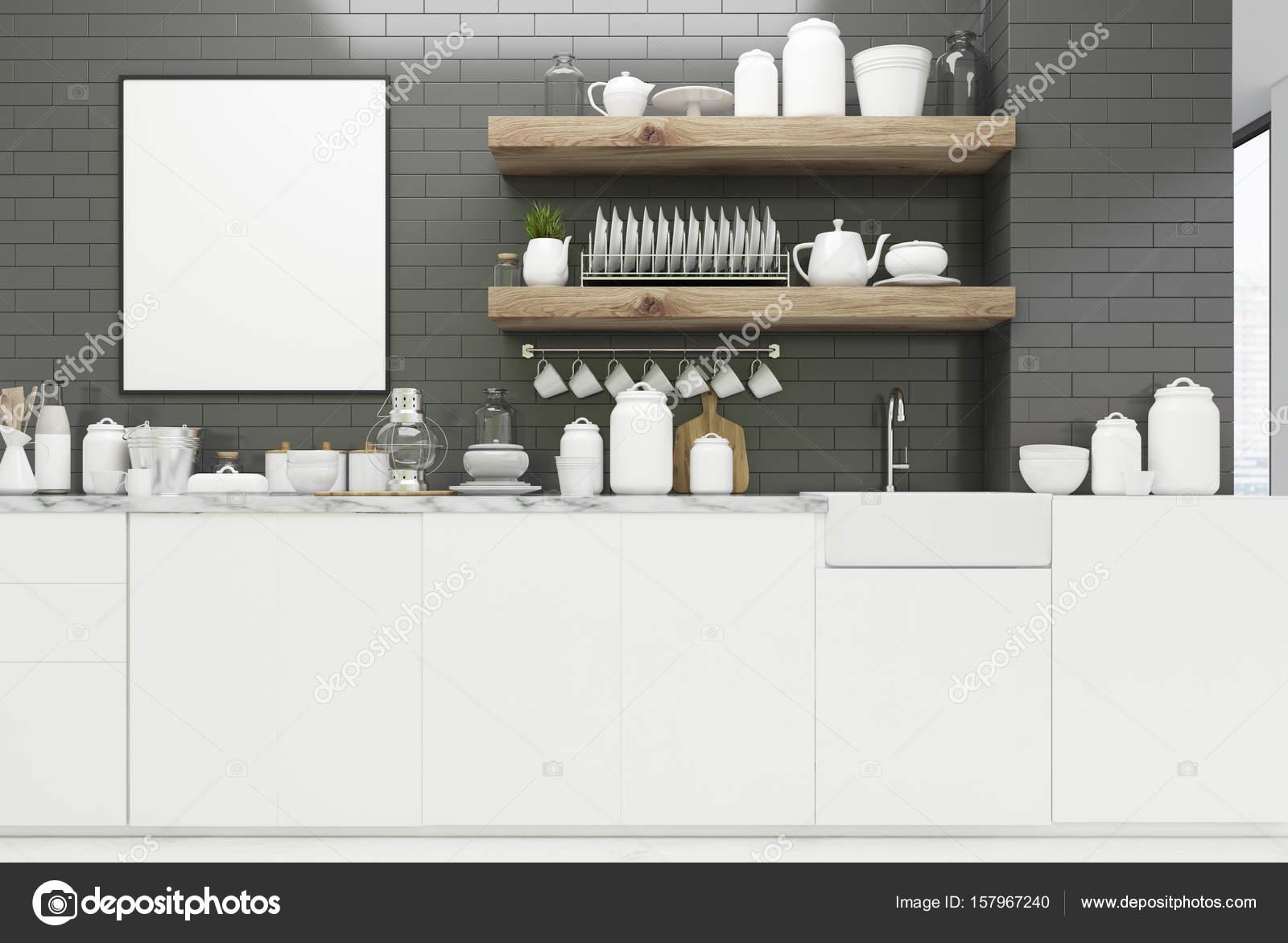 Mensole cucina grigia con poster, — Foto Stock © denisismagilov ...
