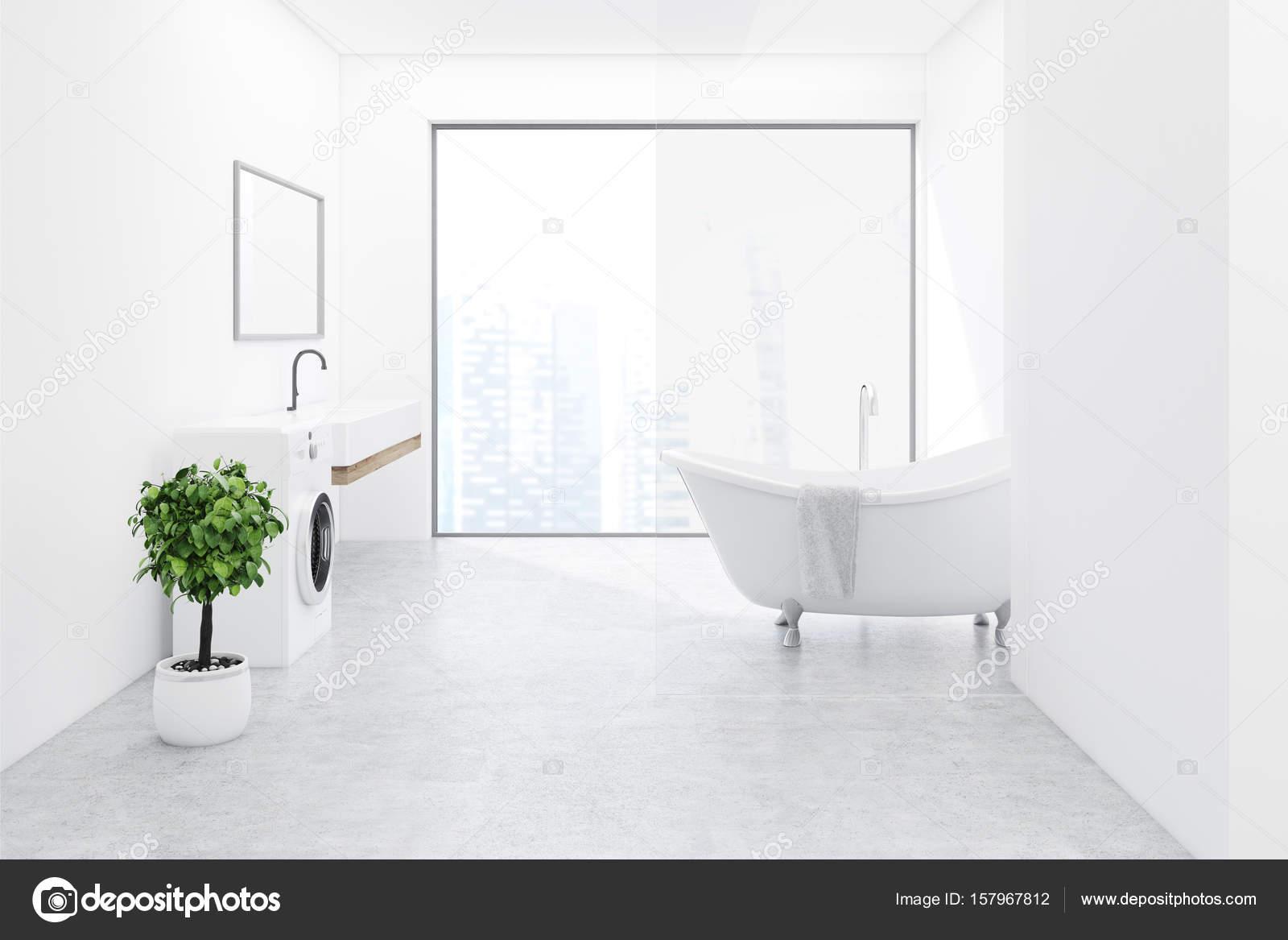 Weißer Boden Badezimmer, Waschmaschine Seite — Stockfoto ...