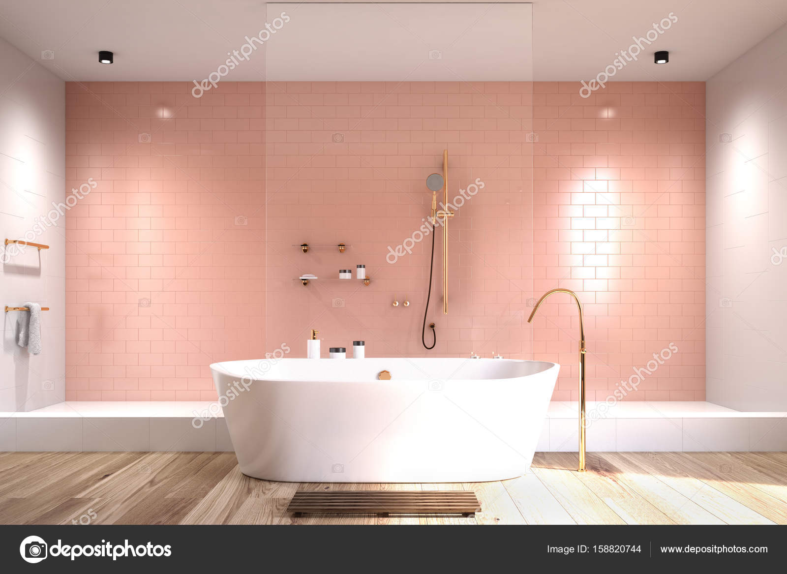salle de bain rose avec carreaux blancs photographie denisismagilov 158820744. Black Bedroom Furniture Sets. Home Design Ideas