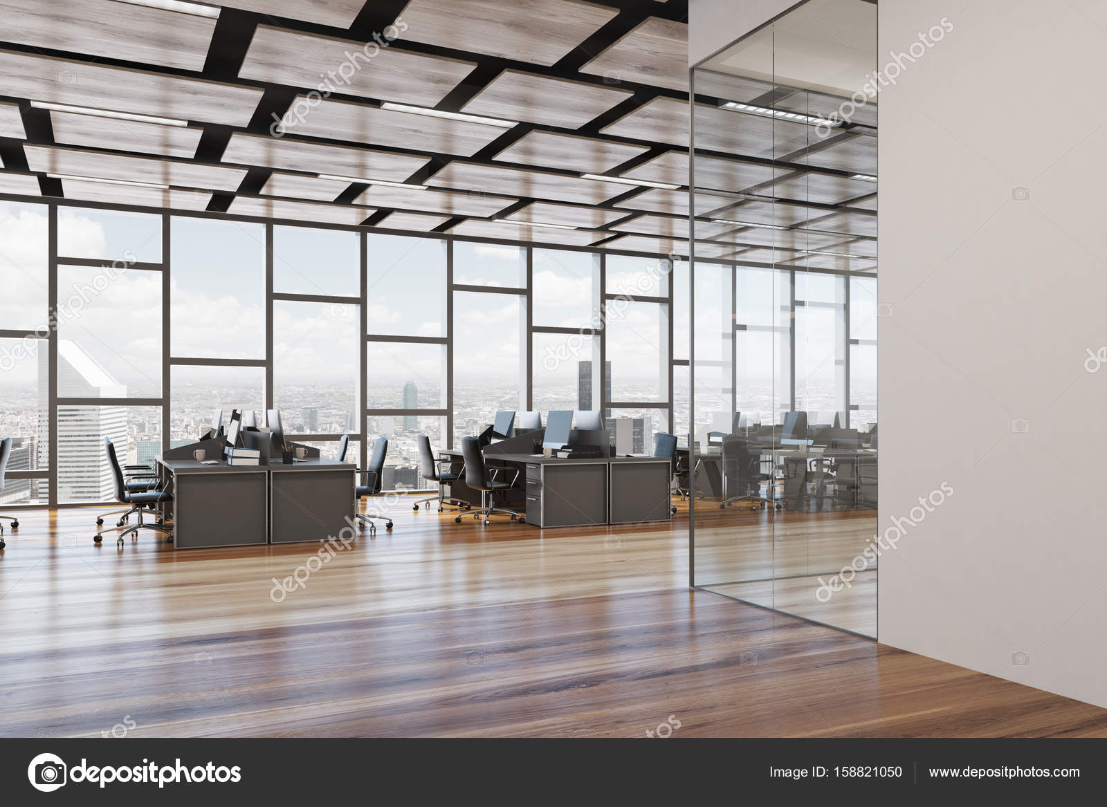 Bureau espace ouvert plancher en bois u photographie