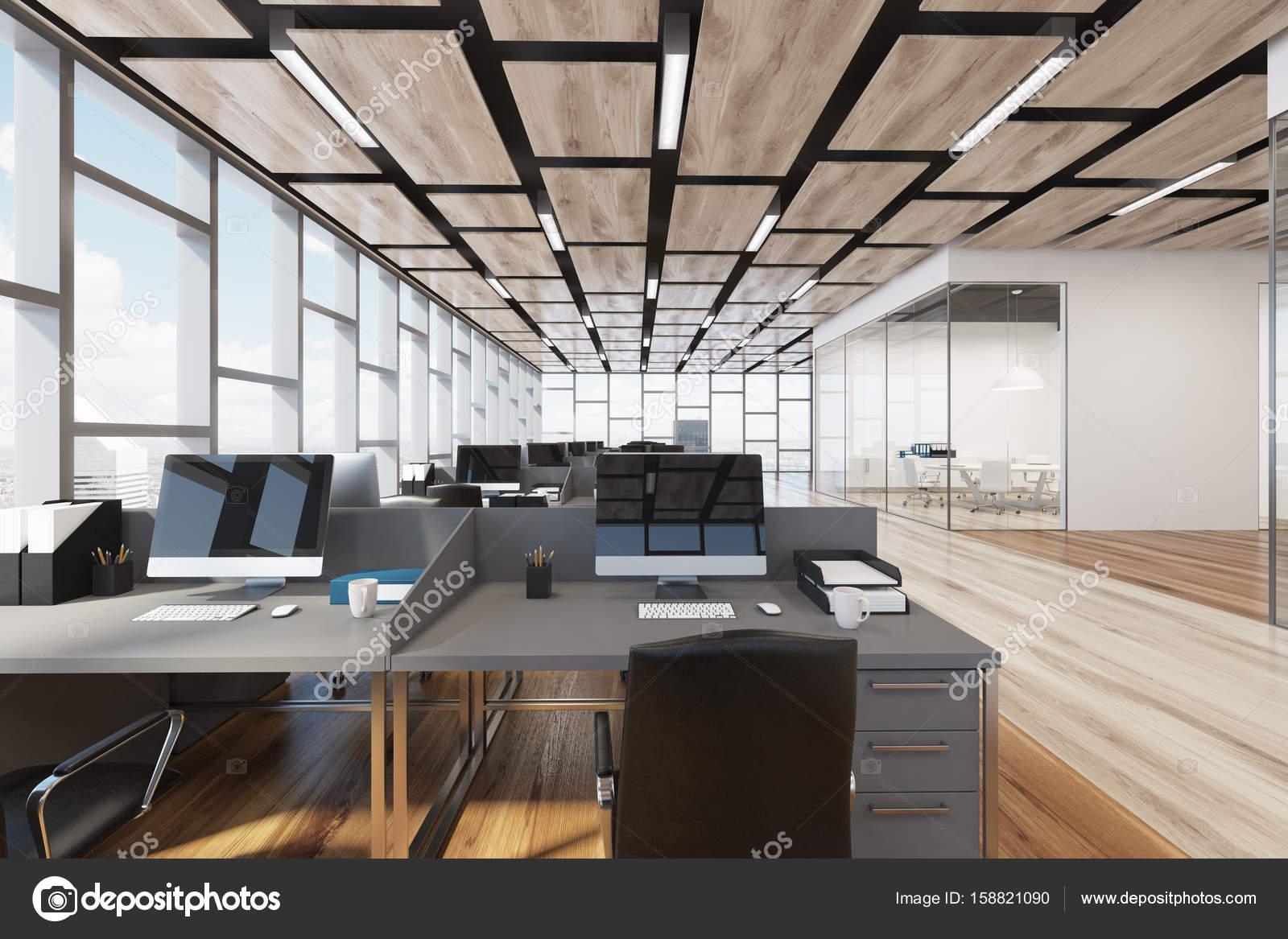 Piante Ufficio Open Space : Ufficio open space di pavimento in legno primo piano u2014 foto stock