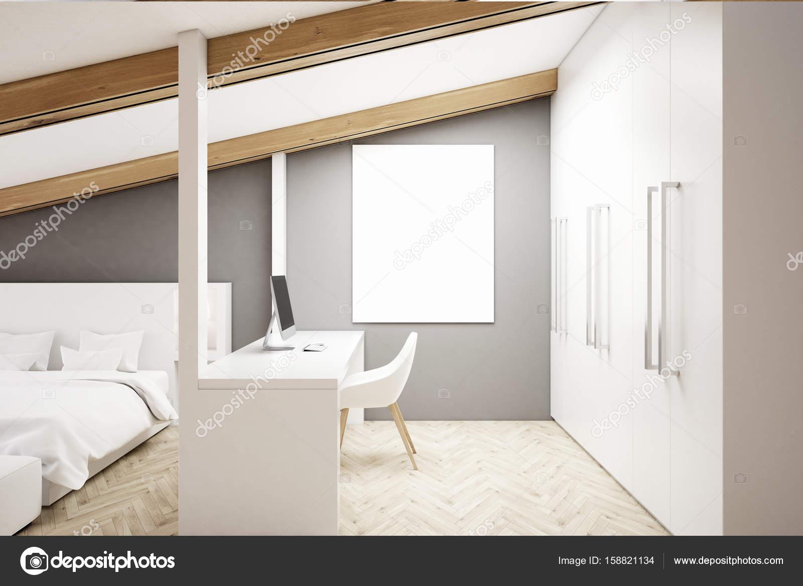 Chambre grenier gris bureau à domicile u photographie