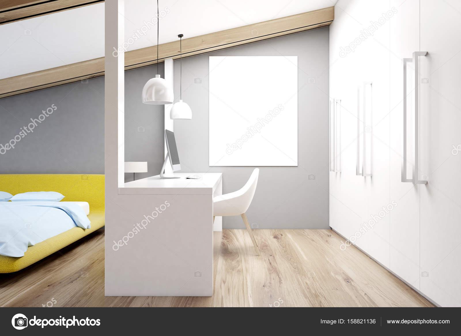 Gray attic bedroom, home office, yellow — Stock Photo ...