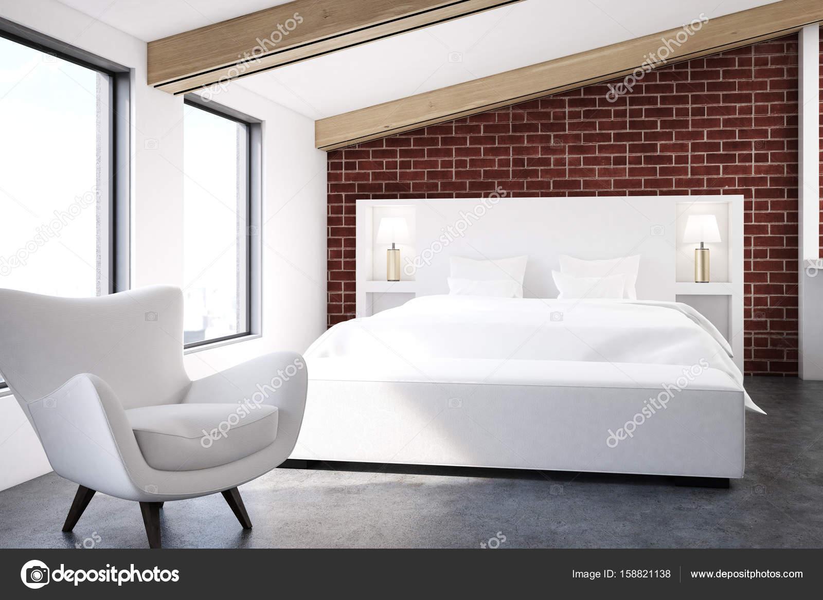Chambre Grenier De Brique Avec Un Plancher De Béton, Deux Grandes Fenêtres,  Un Lit Blanc Et Un Fauteuil. Rendu 3D Maquette U2014 Image De ...