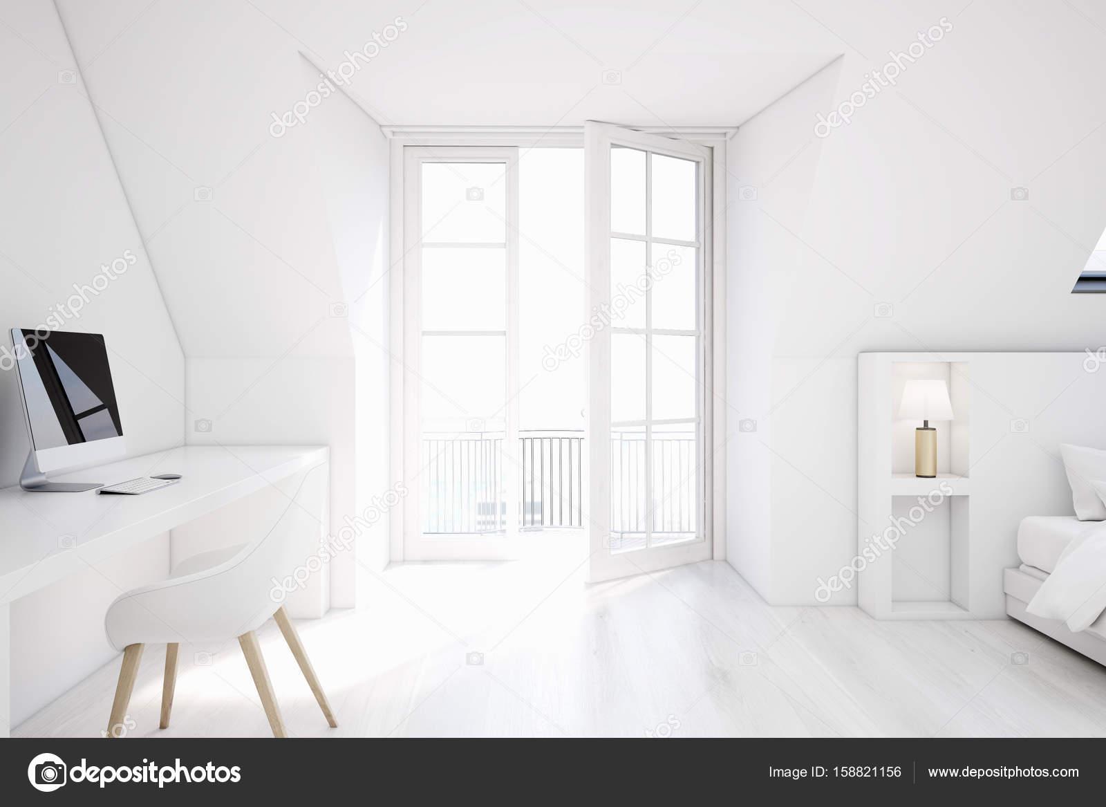 White attic bedroom, home office — Stock Photo © denisismagilov ...