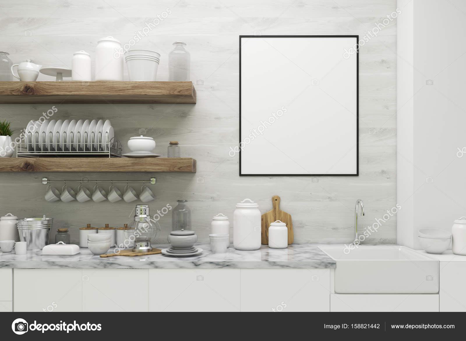 Białe Drewniane Kuchnia Z Plakatu Półki Zdjęcie Stockowe