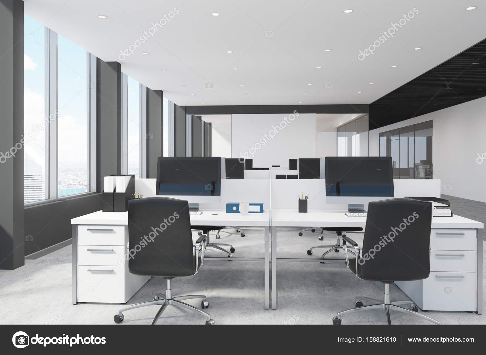 Bureau Noir Et Blanc white and black open space office — stock photo