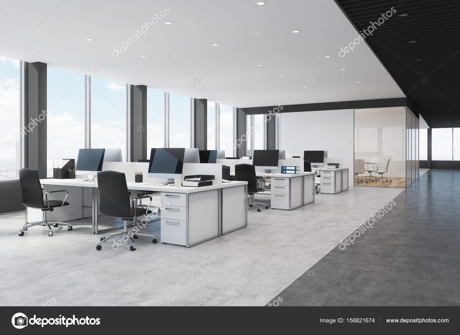 White and black open space office side u2014 stock photo