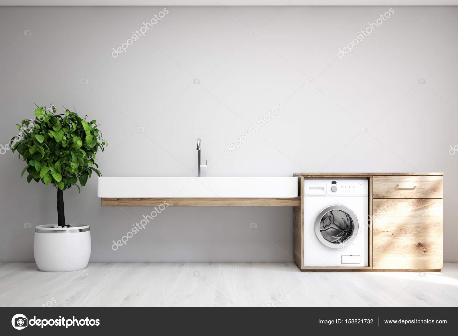 Grau Waschkuche Waschbecken Waschmaschine Stockfoto