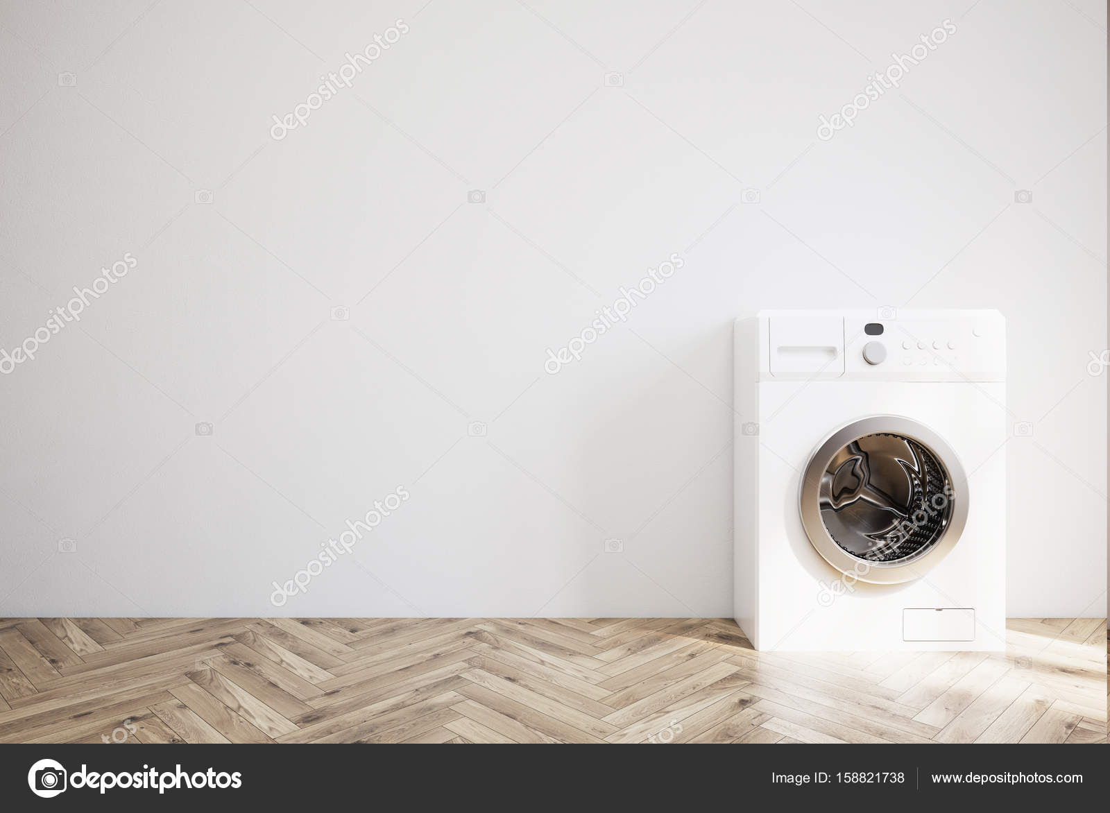 Grijze ruimte met een wasmachine een houten vloer u stockfoto