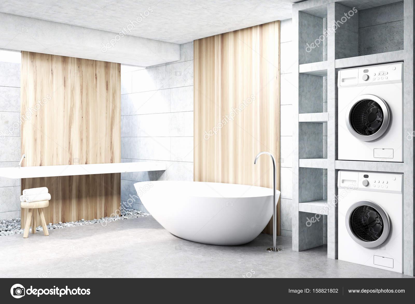 Waschmaschine Badezimmer Holz Stockfoto C Denisismagilov 158821802