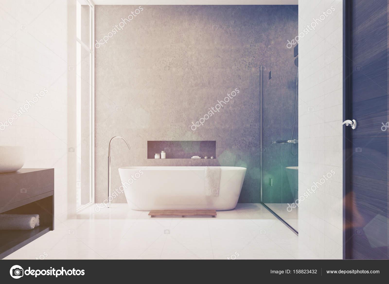 Graue, weiße Fliesen, weiße Waschbecken getönt — Stockfoto ...