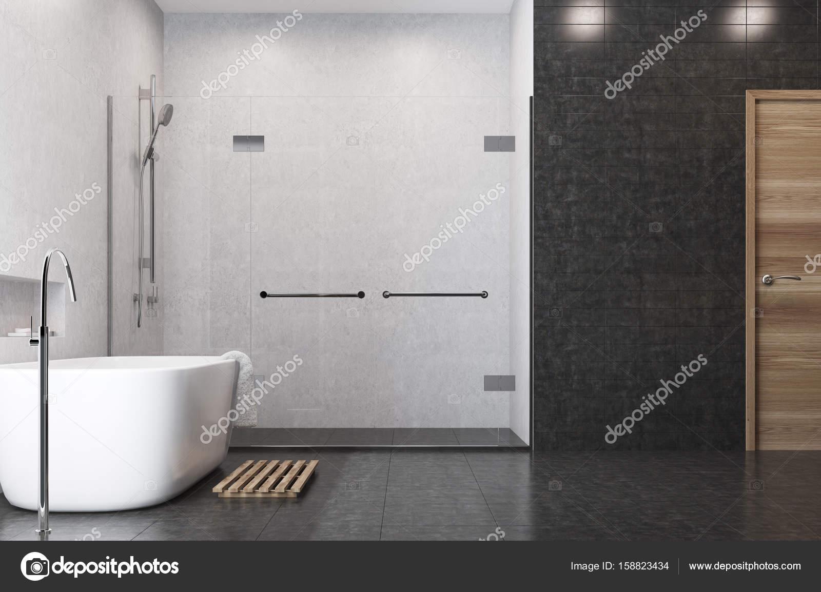 White bathroom, black tiles, shower side — Stock Photo ...