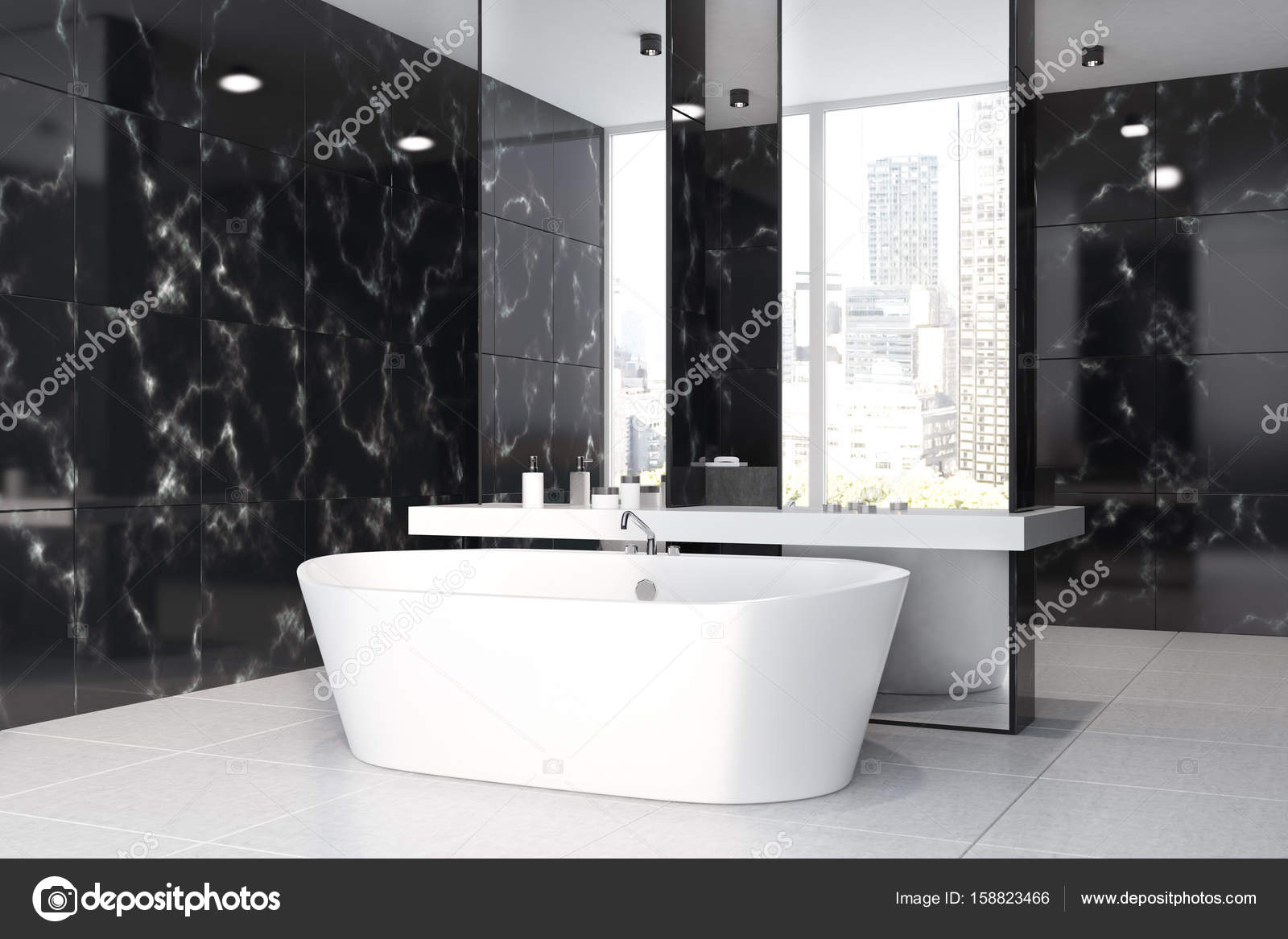 Black Marble Bathroom Interior With A Concrete Floor, A Double Sink, A Tub  And Two Mirrors On Columns. Side View. 3d Rendering Mock Up U2014 Photo By ...