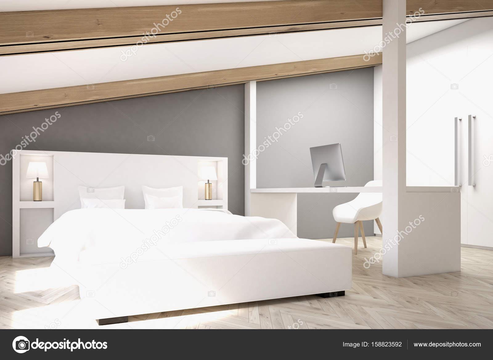 Slaapkamer Op Zolder : Grijze zolder slaapkamer kantoor aan huis kant u stockfoto