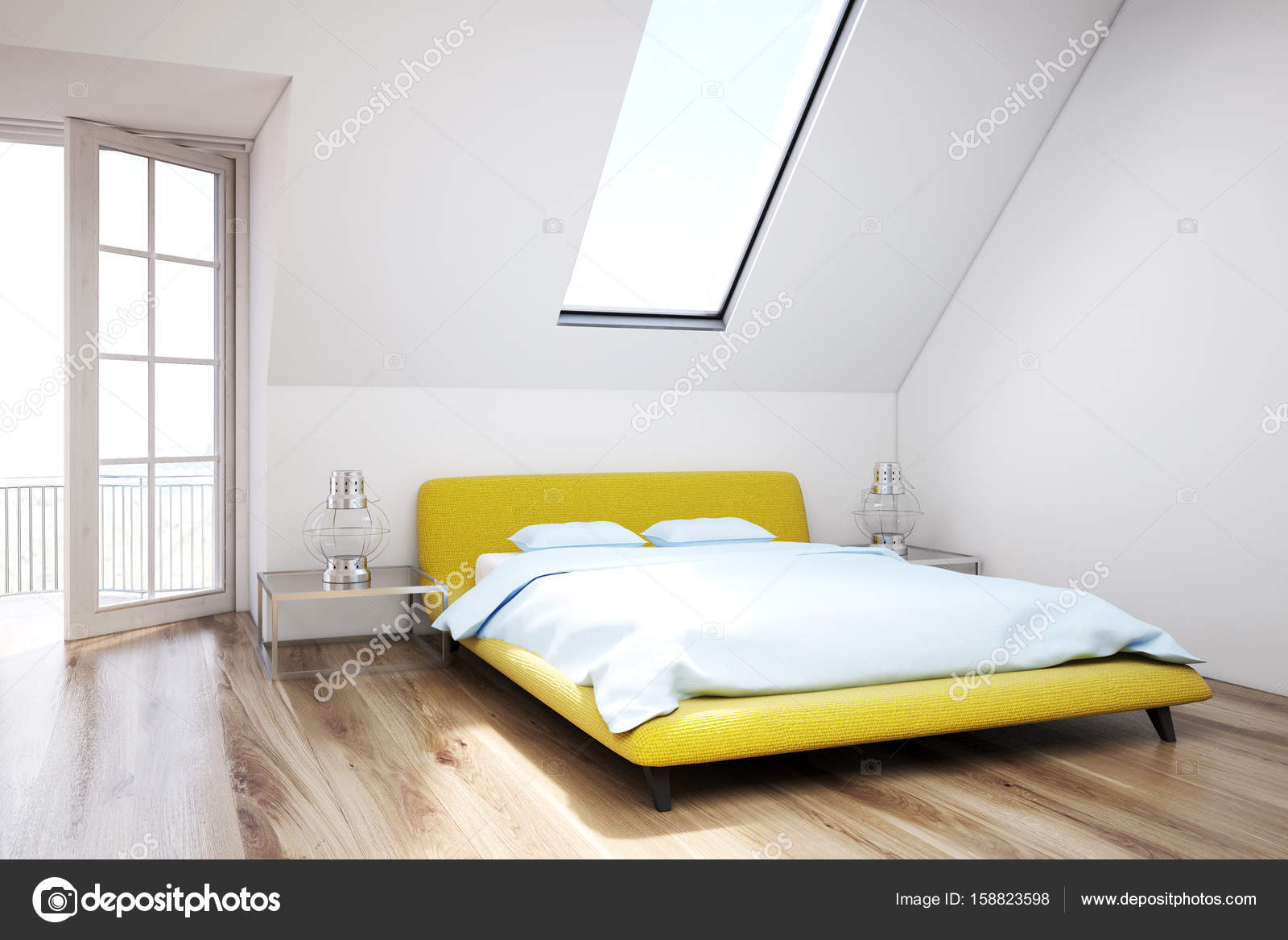 Slaapkamer Houten Vloer : Witte zolder slaapkamer houten vloer close up u stockfoto