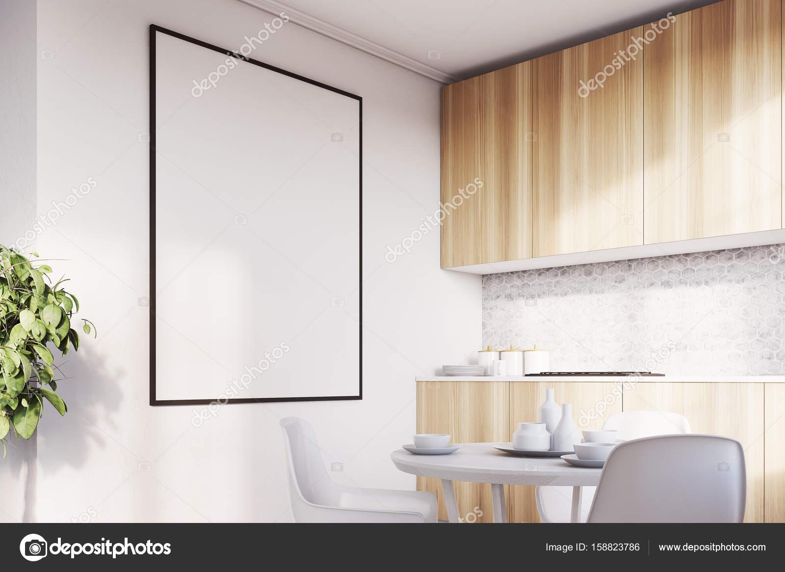 Weiße Küche, Holz-Arbeitsplatten closeup — Stockfoto ...