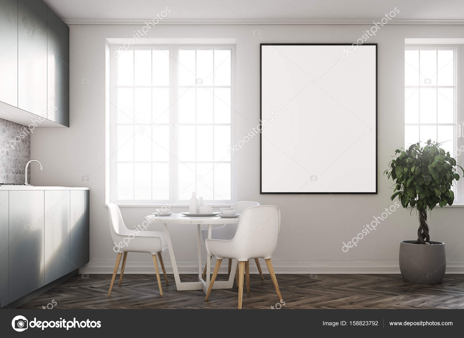 Weiße Küche, graue Arbeitsplatten closeup — Stockfoto ...