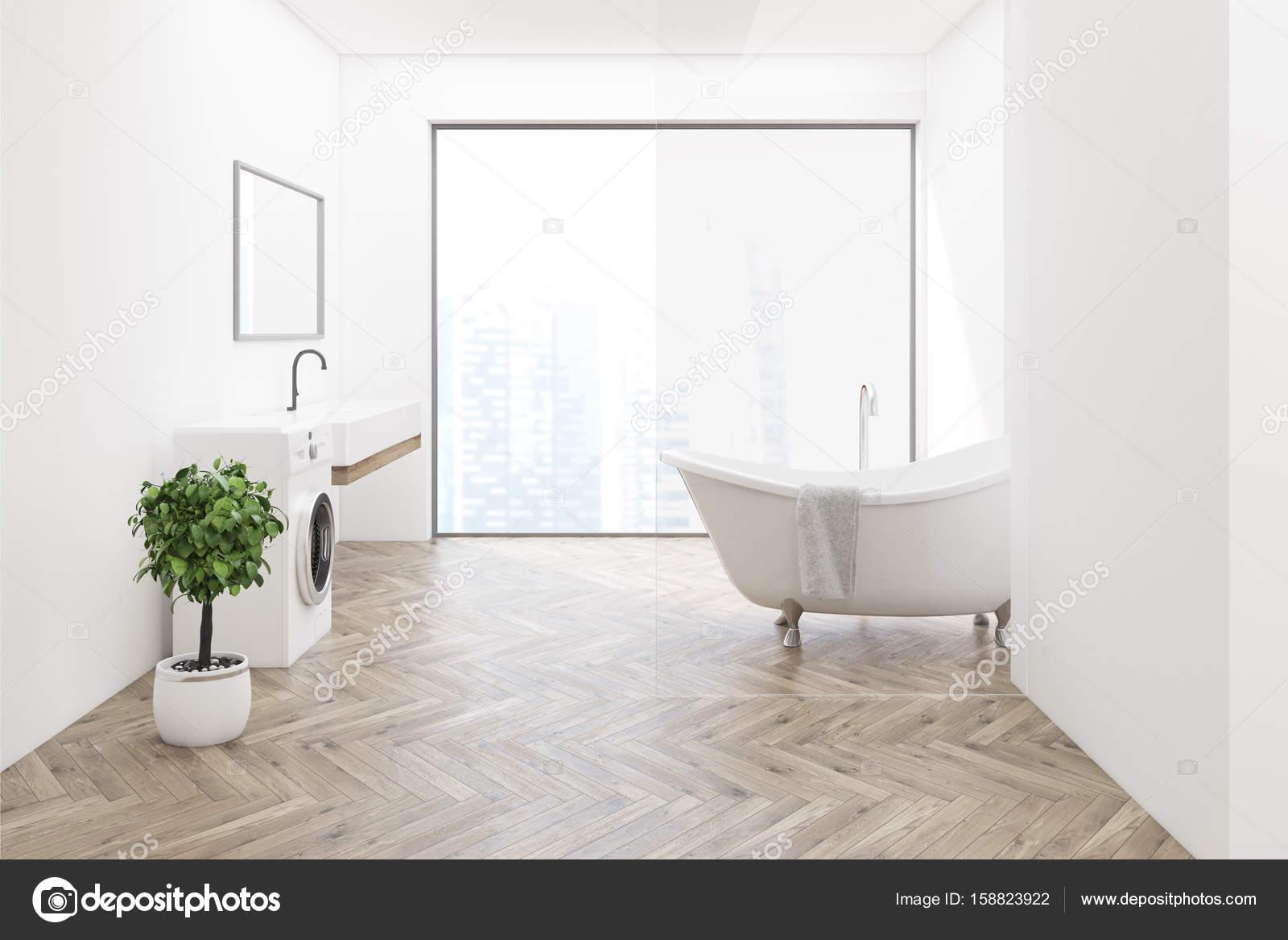 Houten vloer badkamer wasmachine kant u stockfoto