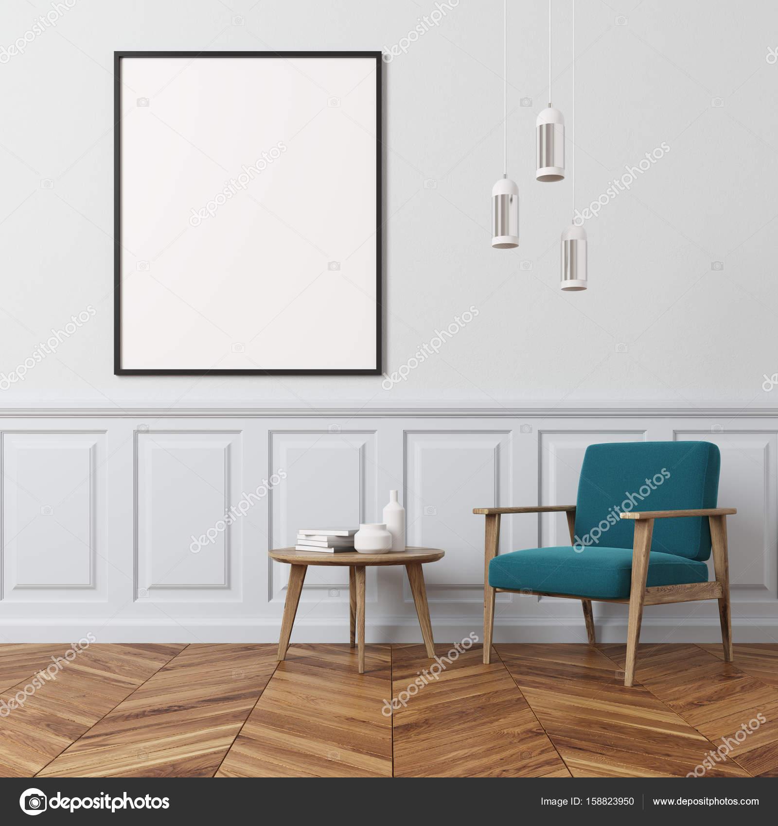 White wall living room, blue armchair — Stock Photo © denisismagilov ...