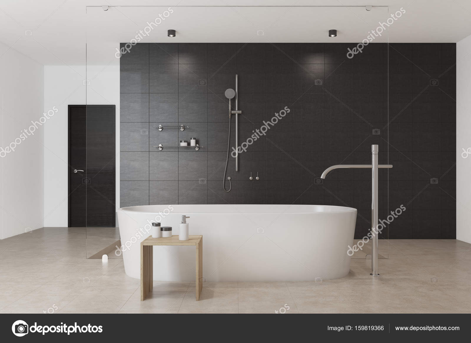 Vasca Da Bagno Nera : Nero interno bianco vasca da bagno anteriore u2014 foto stock