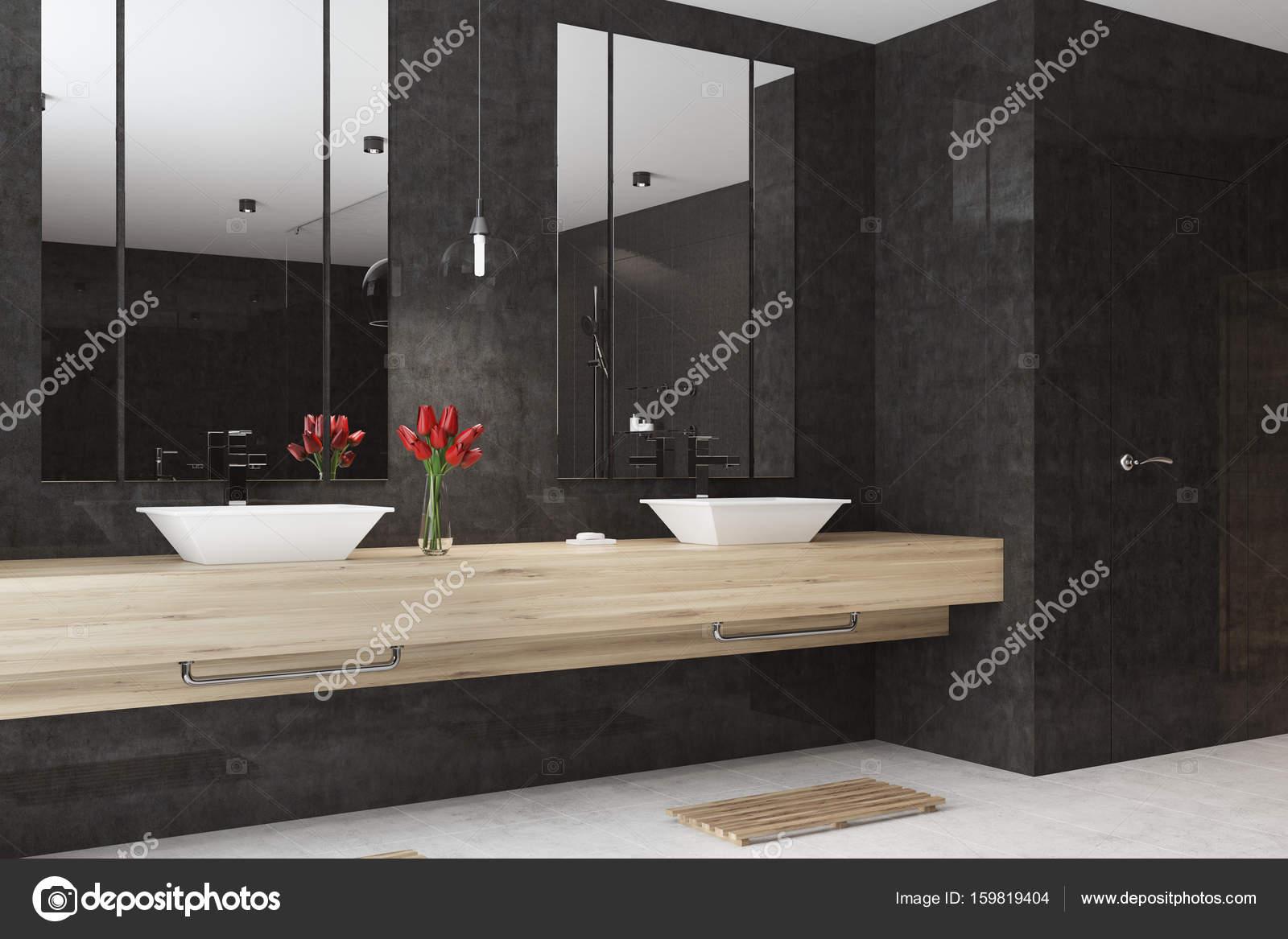 Zwarte badkamer interieur dubbele wastafel hoek u2014 stockfoto