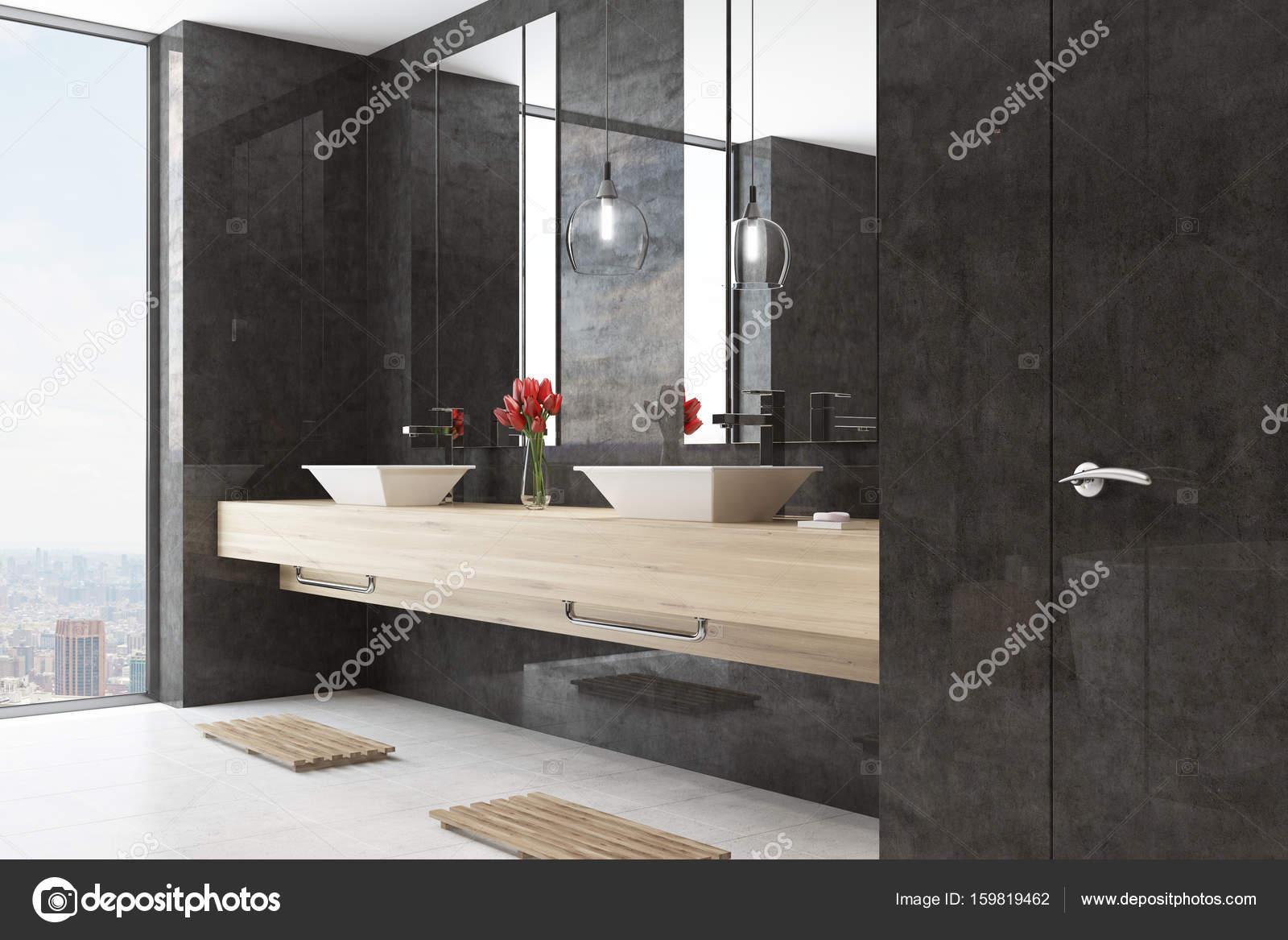 Zwarte badkamer interieur dubbele wastafel kant u2014 stockfoto