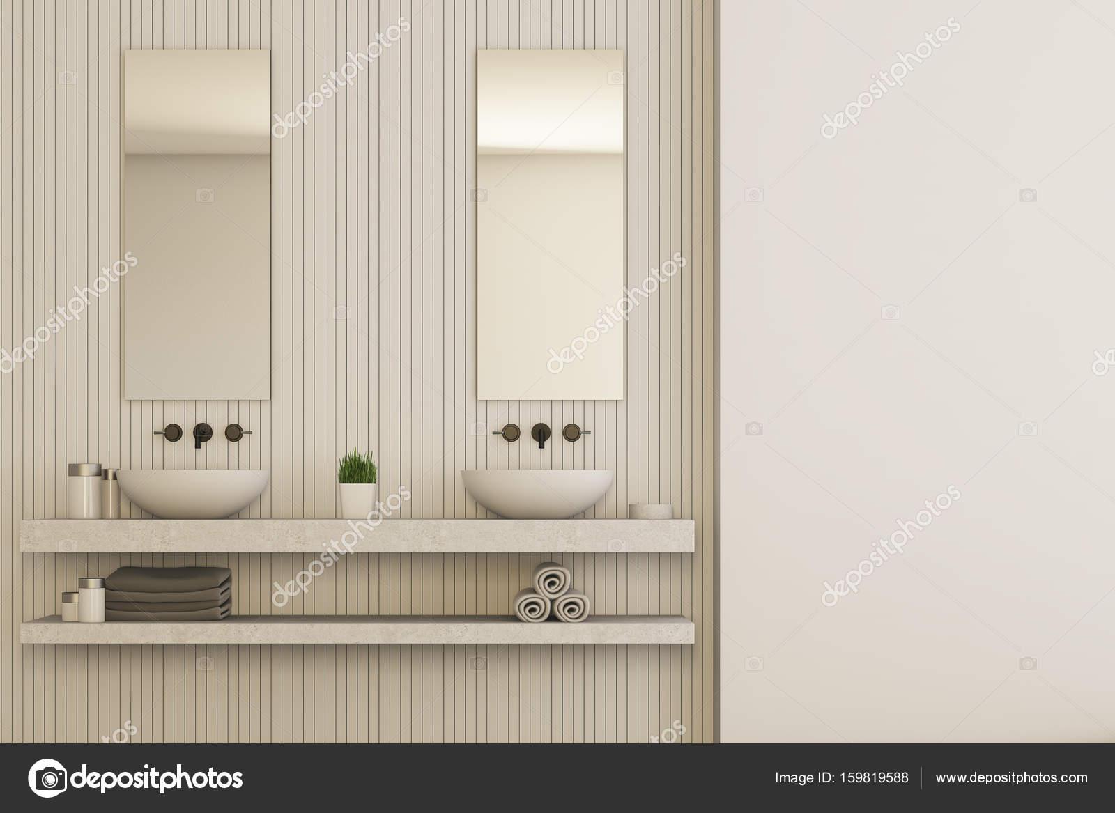 Beige badkamer interieur, dubbele wastafel — Stockfoto ...