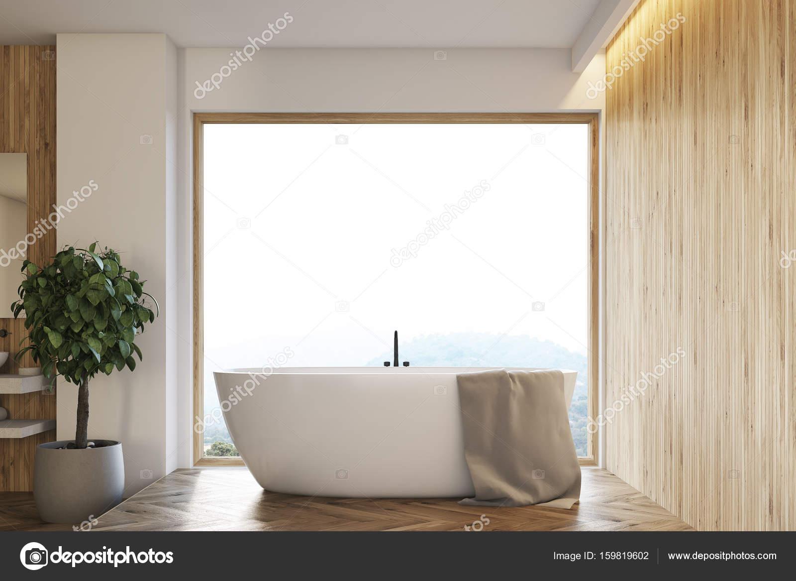 Großes Fenster Aus Holz Badezimmer Interieur, Baum U2014 Stockfoto