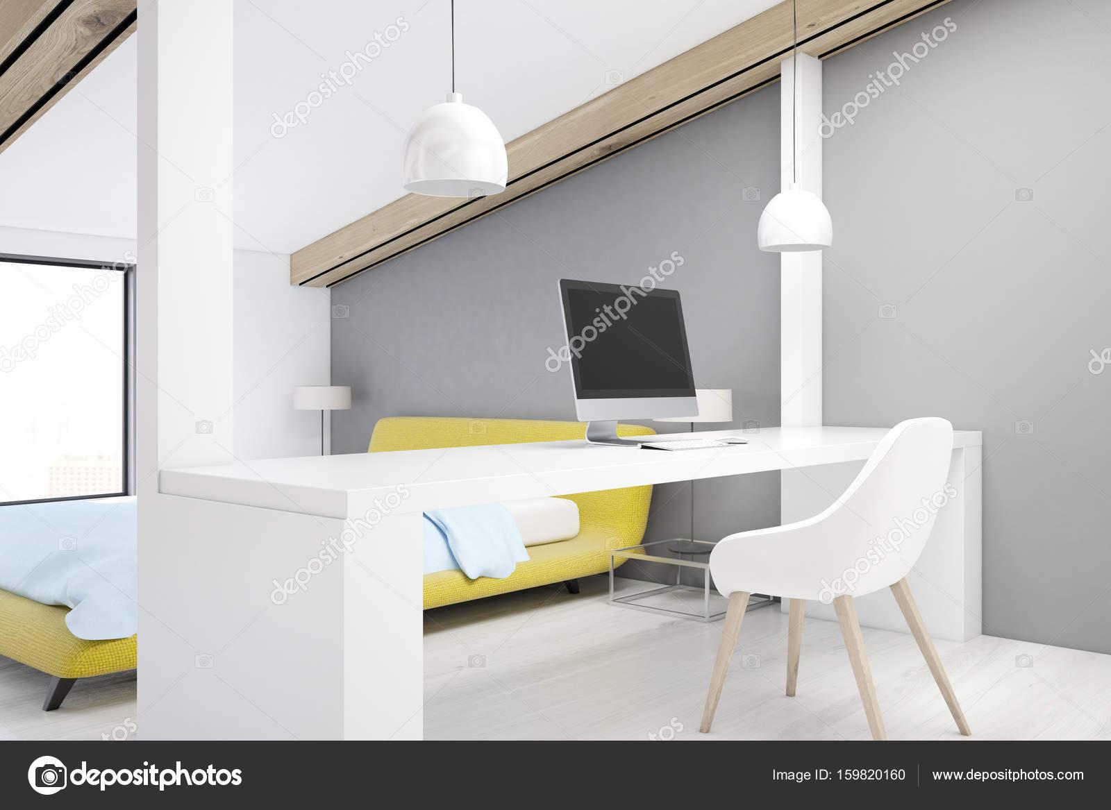 Gray attic bedroom, home office, corner — Stock Photo ...