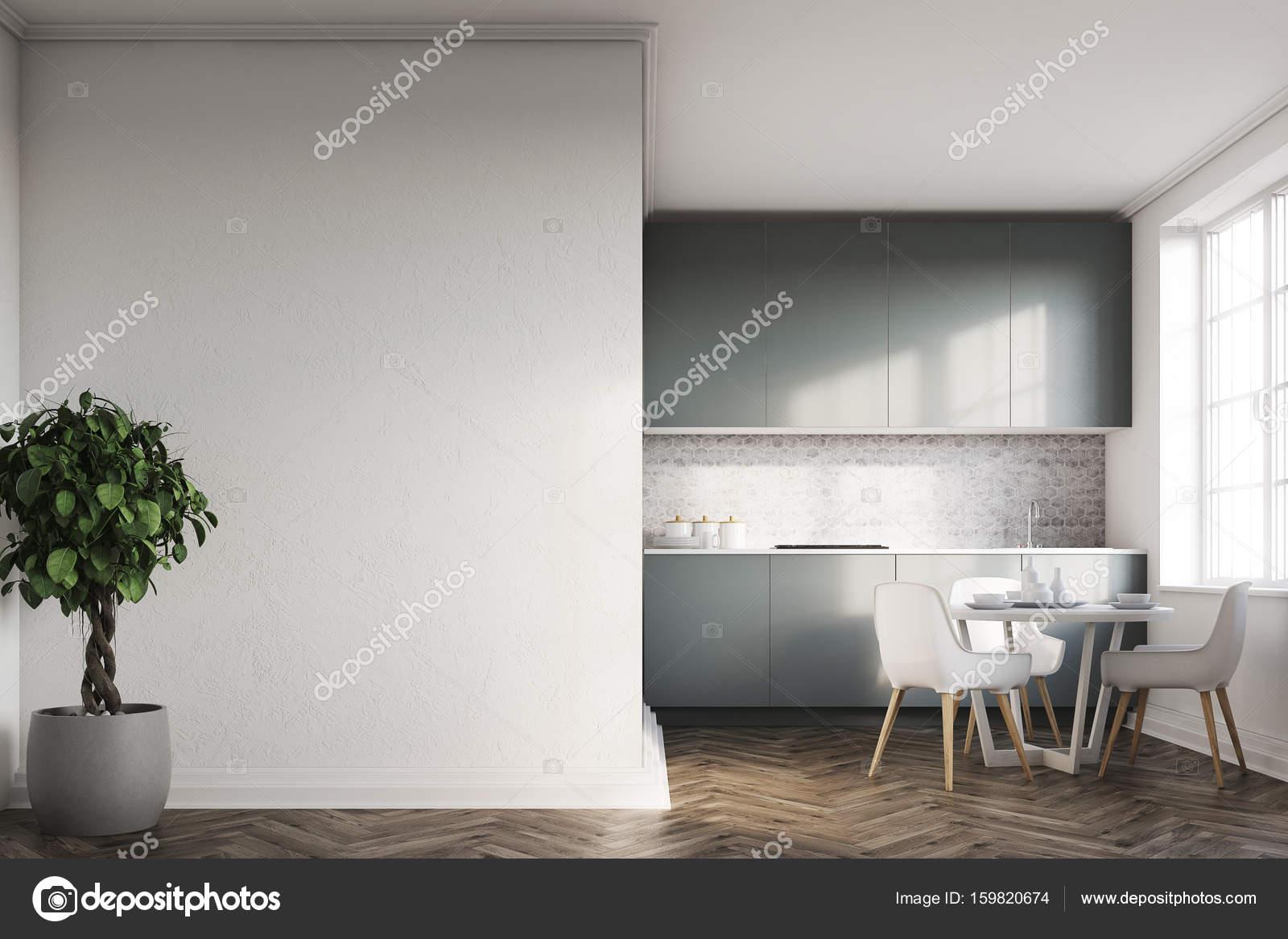 Weiße Küche, graue Arbeitsplatten vorne — Stockfoto © denisismagilov ...