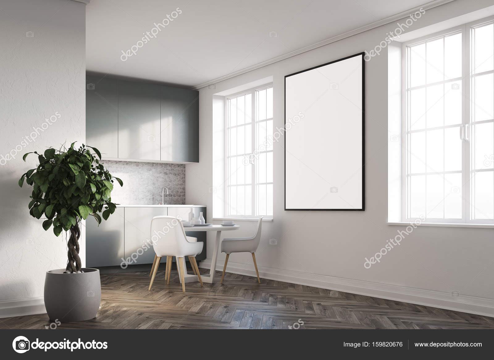 Weiße Küche mit einem Plakat, grau-Arbeitsplatten — Stockfoto ...