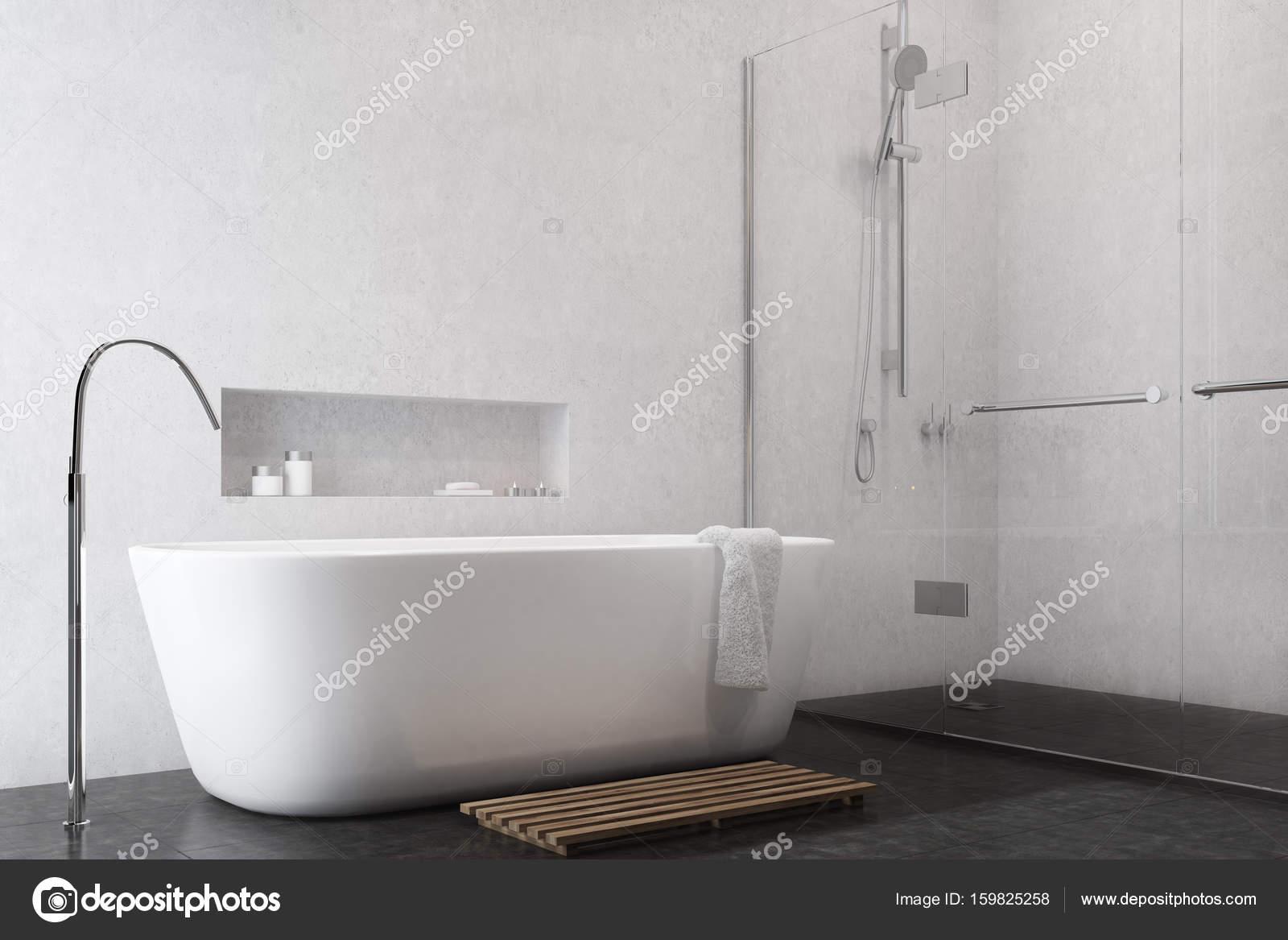Weiße Badezimmer Interieur Mit Schwarzer Boden, Eine Dusche Mit Glastüren,  Eine Weiße Wanne Und Ein Regal über Es. 3D Rendering Mock Up U2014 Foto Von ...