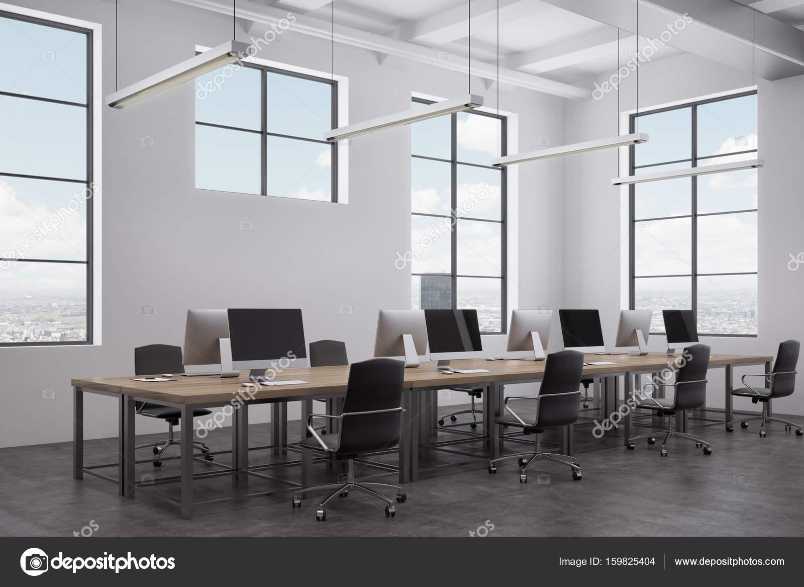 Weisse Freiflache Buro Innen Seitenansicht Stockfoto
