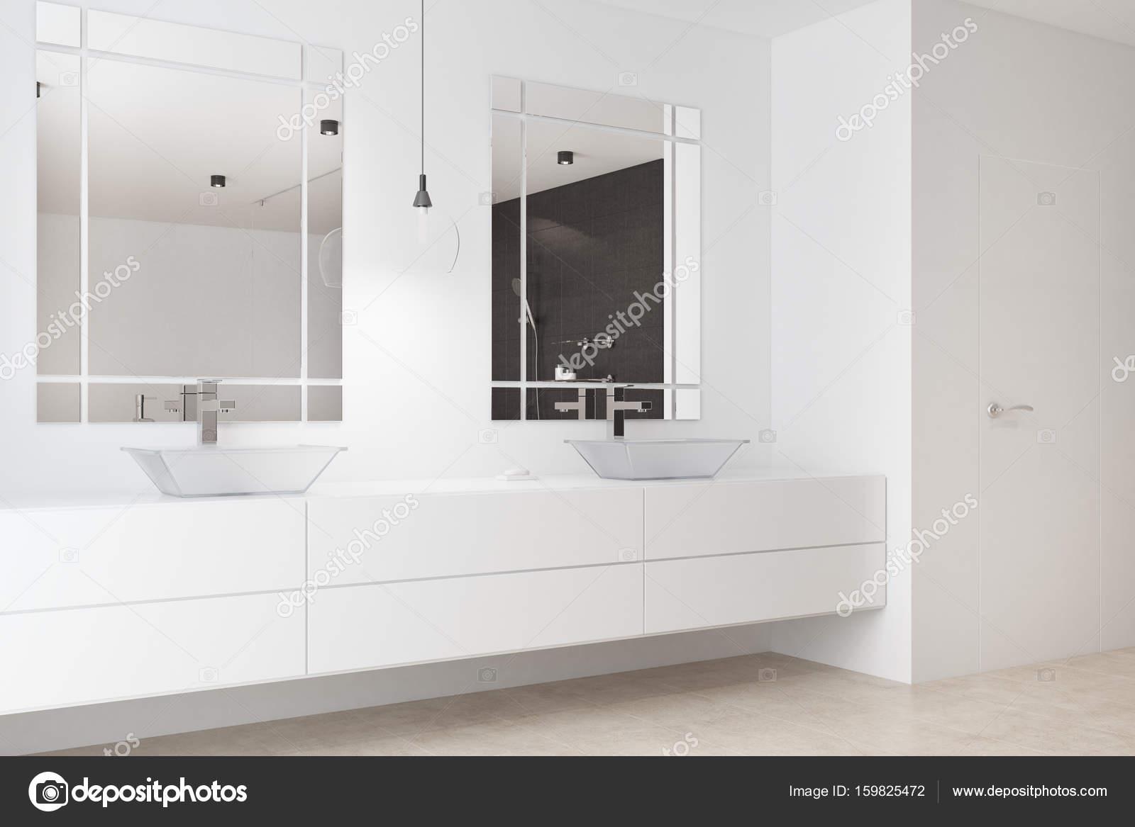 Weißen Bad, Doppelwaschbecken, Seite — Stockfoto © denisismagilov ...