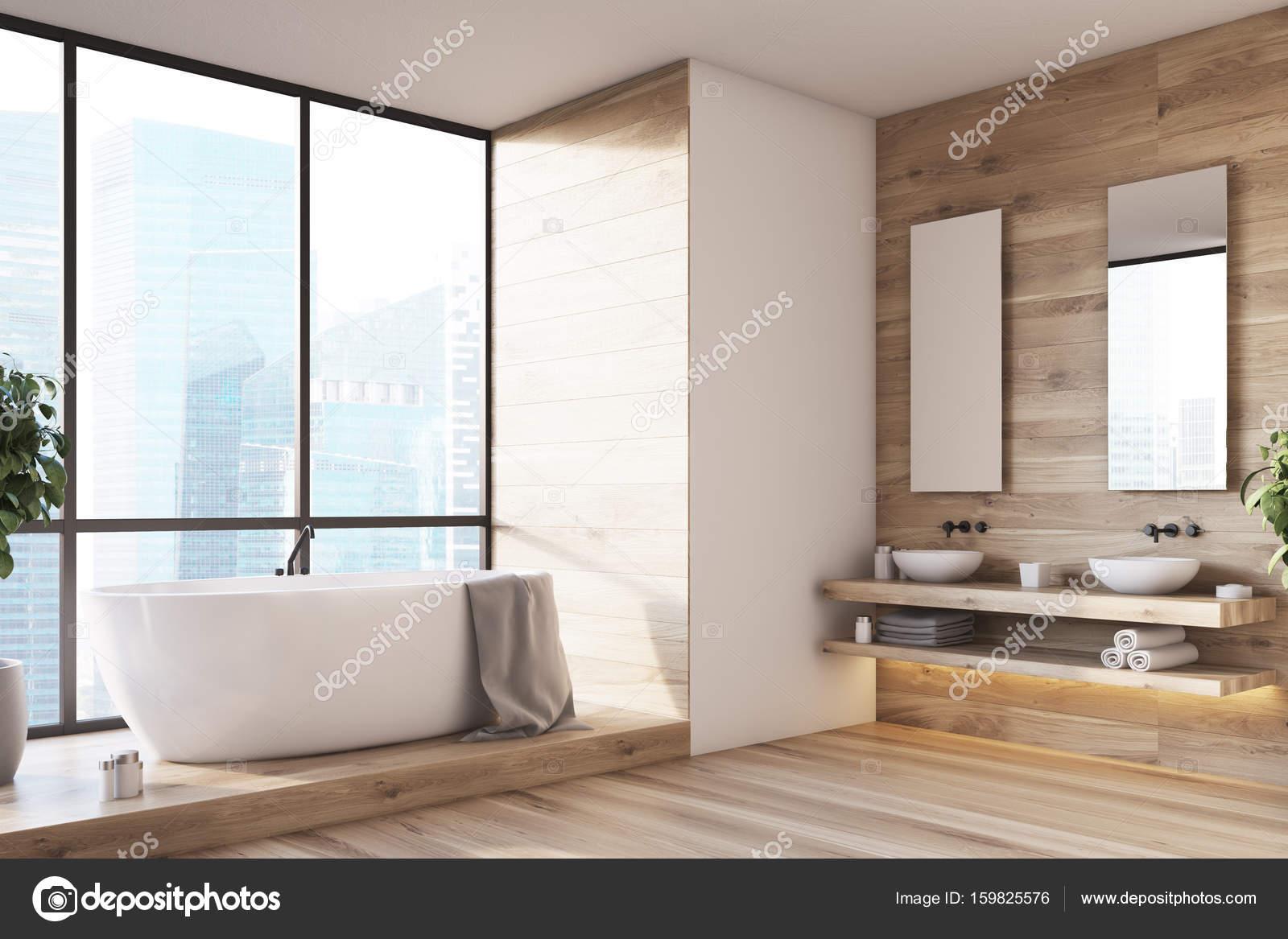 groot raam badkamer interieur kant stockfoto