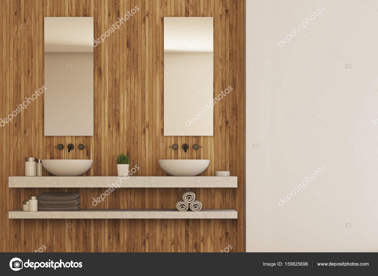 Houten badkamer interieur, dubbele wastafel — Stockfoto ...